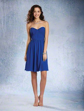 A Strapless Cocktail Length, A-Line Style, Short Bridesmaid Dress With A Natural Waist And Gathered Skirt.