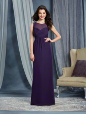A Full Length, A-Line Style, Long Bridesmaid Dress With An Empire Waist And A Tie-Back Illusion Yoke Neckline.