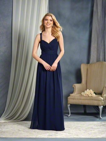 A Full Length, A-Line Style, Long Bridesmaid Dress With Sheer Shoulder Straps And A Keyhole Back.