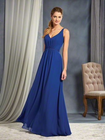 A Full Length, A-Line Style, Long Bridesmaid Dress With A V-Shaped Neckline And Sheer Back Straps Accented with Lace Motifs.