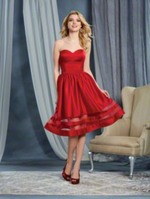 A Strapless Cocktail Length, A-Line Style, Short Bridesmaid Dress With A Sheer Insets On The Gathered Skirt And A Natural Waist.