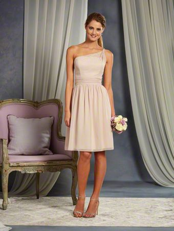 A Cocktail Length, A-Line Style, One Shoulder Bridesmaid Dress With A Twisted Strap And Crystal Beading Detail.