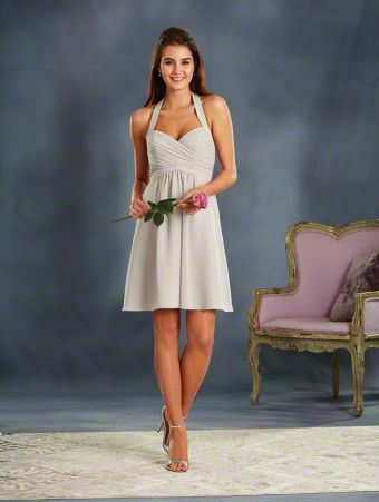 A Cocktail Length, A-Line Style, Short Bridesmaid Dress With An Empire Waist And Halter Strap.
