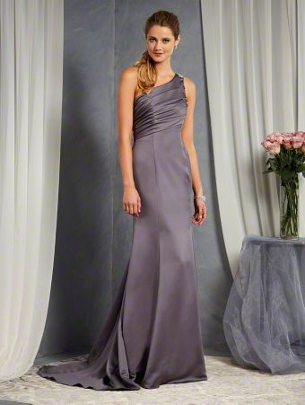 A Floor Length, Fit And Flare Style, One Shoulder Bridesmaid Dress With An Asymmetric Empire Waist And Beaded Motif Detail On The Strap.