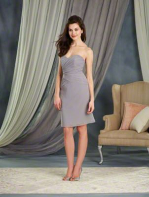 A Strapless, A-Line Style, Short Bridesmaid Dress With A Fitted Cross-Draped Bodice.