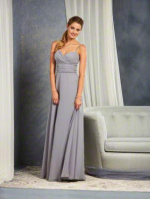 An A-Line Style, Long Bridesmaid Dress With A Spaghetti Straps And Beaded Trim At Both The Empire And Natural Waist Lines.