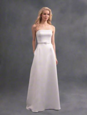 A long beautiful bridesmaid dress with strapless neckline, belted natural waist, and A-line skirt with pockets.