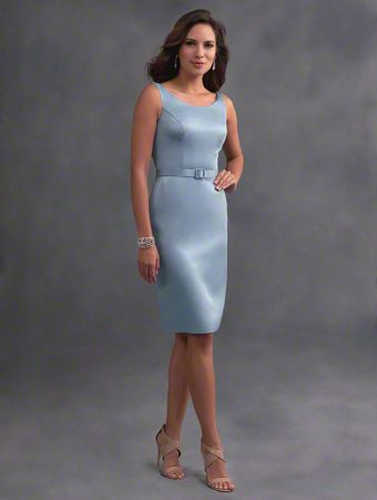 A short classic bridesmaid dress with scooped neckline, tank straps, v-shaped backline, and belted natural waist.