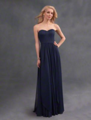 A classic convertible bridesmaid dress with versatile streamers, removable waistband, and A-line skirt.