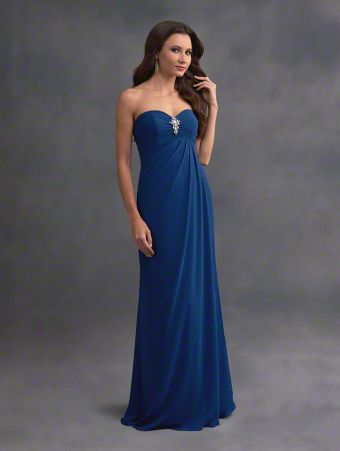 A beautiful long bridesmaid dress with strapless, sweetheart neckline, empire bodice, and overlay skirt.
