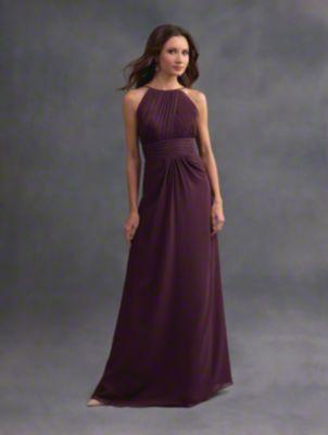 A romantic long bridesmaid dress with halter neckline, cummerbund natural waist, and A-line skirt.