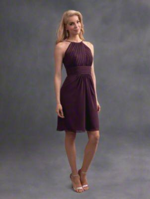 A beautiful short bridesmaid dress with halter neckline, cummerbund natural waist, and A-line skirt.