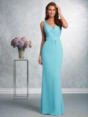 A long affordable bridesmaid dress with a V-neckline, spaghetti straps, draped bodice, and fluted skirt.