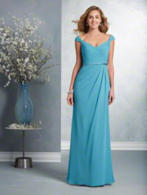 A long beautiful bridesmaid dress with a V-neckline, tip-of-the-shoulder straps, banded natural waist, and fluted skirt.