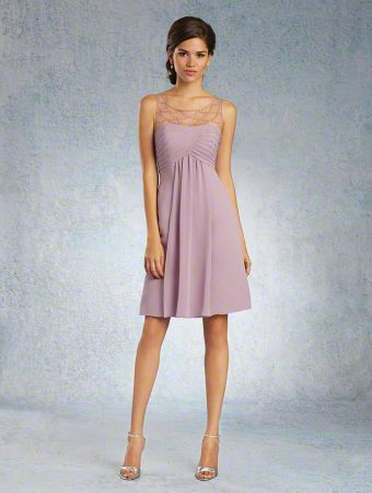 An Elegant Bridesmaid Dress with a Beaded Sheer Sleeveless Yoke, Pleated Bodice, Gathered Cocktail-Length Chiffon Skirt, and Dipped Neckline