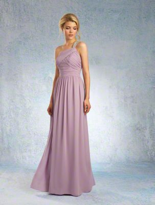 A Sophisticated Bridesmaid Dress with a Floor-Length A-Line Chiffon Skirt and Asymmetric Neckline with a Beaded Single-Shoulder Strap