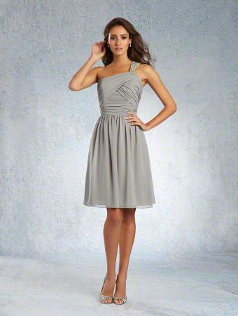 A Sophisticated Bridesmaid Dress with a Cocktail-Length A-Line Chiffon Skirt and Asymmetric Neckline with a Beaded Single-Shoulder Strap