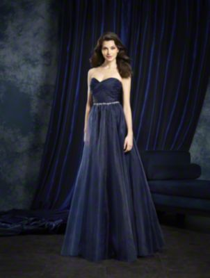 A Strapless, Floor Length, Ball Gown Bridesmaid Dress With A Crystal Trimmed Natural Waistband.