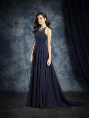 An A-Line Style, Long Bridesmaid Dress With An Illusion Halter Neckline Decorated In Crystal Beading And A Sweep Train.