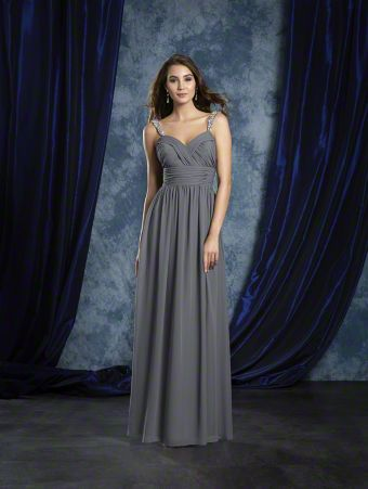 A Long Bridesmaid Dress With Crystal Beaded Shoulder Straps And A Natural Waist.