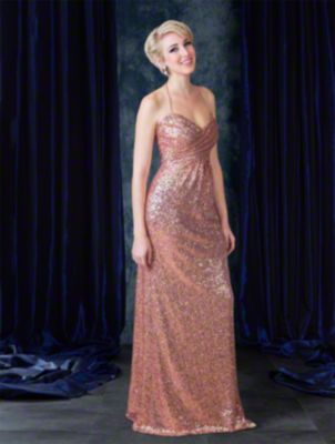 Floor length sequined sexy bridesmaid dress with sweetheart neckline, halter straps, empire waist bodice, and pleated skirt.