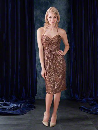 Cocktail length elegant bridesmaid dress with sweetheart neckline, halter straps, empire waist, and pleated skirt.