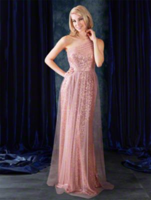 A full length sequined sexy bridesmaid dress with single shoulder strap, draped natural waist bodice, and draped skirt.