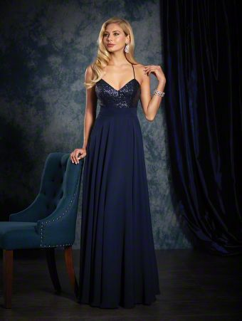 An elegant long bridesmaid dress with a sweetheart neckline with spaghetti straps, natural waist, and circle skirt.