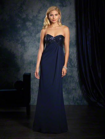 A sexy long bridesmaid dress with sequined strapless, sweetheart bodice, empire waist, and full-length skirt.