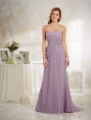 A Vintage Style, Long Bridesmaid Dress With Sheer Shoulder Straps, A Sweep Train And Natural Waist With Embroidered Lace Detail.