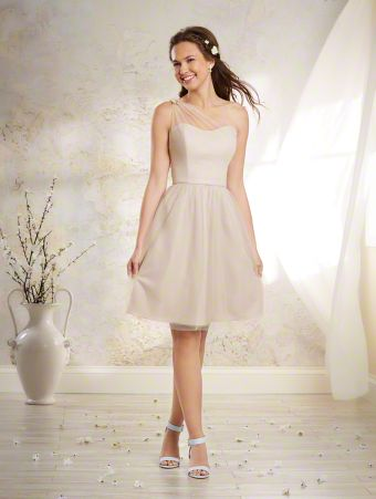 A Vintage Style, Cocktail Length, One Shoulder Bridesmaid Dress With A Natural Waist And Floral Detail Along The Strap On The Back Of The Dress.