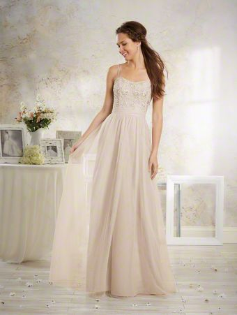 A Vintage Style, Long Bridesmaid Dress With Spaghetti Straps, A Natural Waist And An Embroidered Lace Bodice.