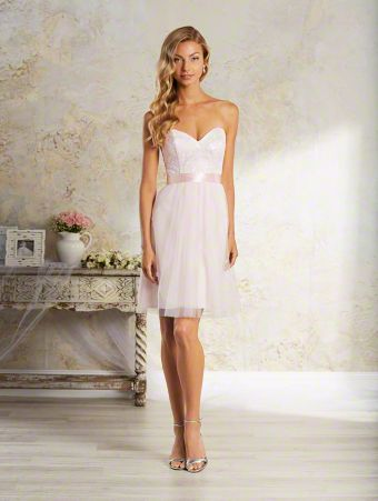 An elegant, short bridesmaid dress with strapless, sweetheart neckline, natural waist, and cocktail skirt.