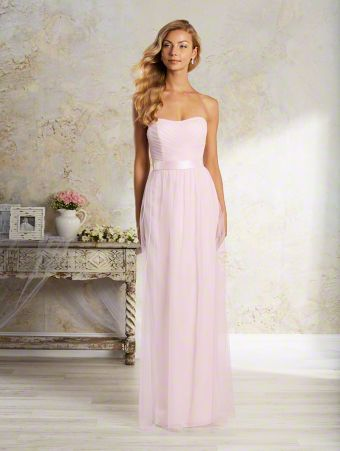 An elegant long bridesmaid dress with strapless, dipped neckline, draped bodice, and floor length skirt.