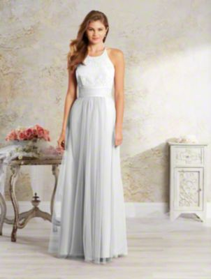 A long, rustic bridesmaid dress with halter neck, crisscross back, cummerbund at the natural waist, and gathered skirt.