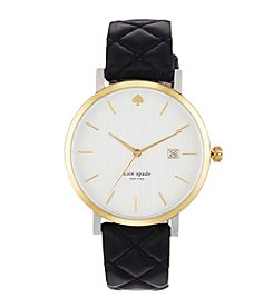 kate spade new york® Goldtone Metro Grand Black Quilted Leather Watch