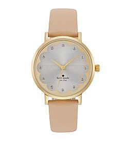 kate spade new york® Goldtone Metro Scallop Vachetta Leather Watch