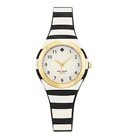 kate spade new york® Goldtone Rumsey Black And White Stripe Silicone Watch