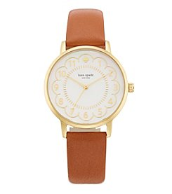 kate spade new york® Goldtone Metro Scallop Luggage Leather Watch