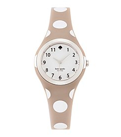 kate spade new york® Silvertone Rumsey Grey And White Polka Dot Silicone Watch