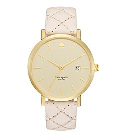 kate spade new york® Goldtone Metro Grand Vachetta Quilted Leather Watch