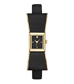 kate spade new york® Goldtone Kenmare Black Leather Watch