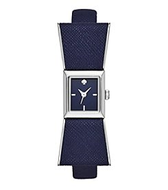 kate spade new york® Silvertone Kenmare Navy Leather Watch