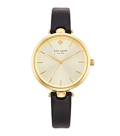 kate spade new york® Goldtone Holland Black Leather Watch