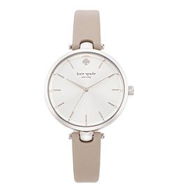 kate spade new york® Silvertone Holland Clocktower Grey Leather Watch