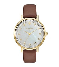 kate spade new york® Goldtone Monterey Luggage Leather Watch