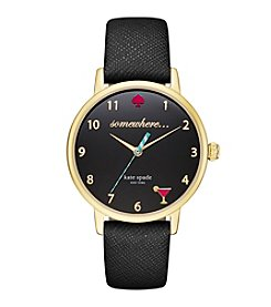 kate spade new york® Goldtone Metro 5 O'Clock Somewhere Black Leather Watch