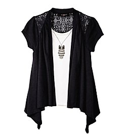 Amy Byer Girls' 7-16 Lace Shawl With Owl Necklace