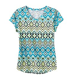 Miss Attitude Girls' Boho Geo Printed V-Neck Tee