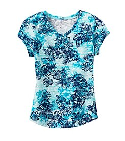 Miss Attitude Girls' Floral Printed V-Neck Tee